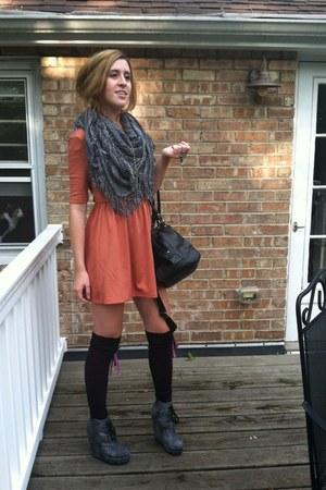 Forever 21 scarf - Forever 21 dress - big buddah bag - Mossimo socks