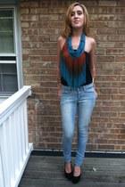 turquoise blue fringe Express scarf - periwinkle kohls jeans