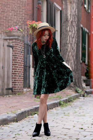 green thrifted dress