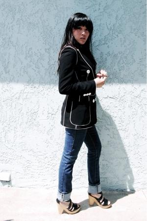 Vintage Moschino blazer - Paris Blues jeans - Steve Madden shoes