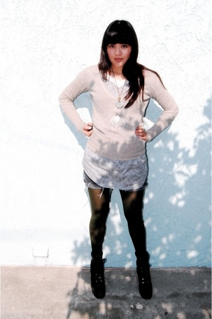 tights - jovovich-hawke dress - Target sweater - Nine West boots