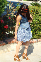 Urban Outfitters sunglasses - dress - vest - Bakers shoes