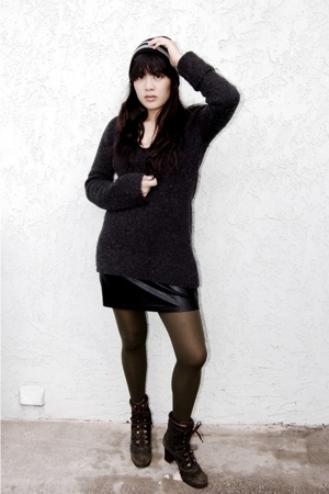 NY&Company sweater - American Apparel skirt - Nine West boots - H&M hat