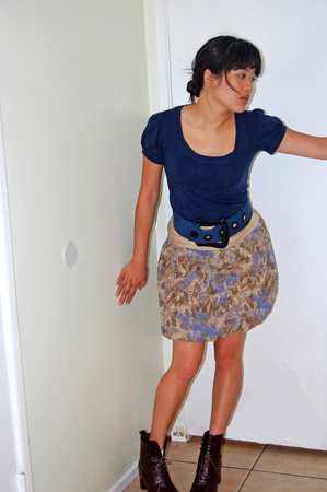 forever 21 shirt - forever 21 belt - DKNY skirt - shoes