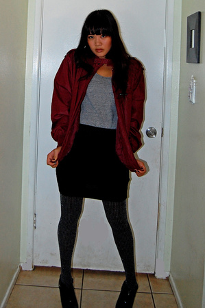 Members Only jacket - American Apparel shoes - Old Navy skirt - payless shoes