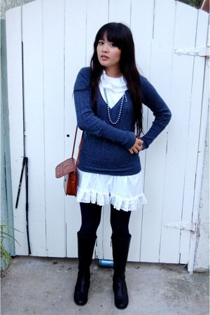 Hanes dress - Mossimo sweater - purse - DSW shoes