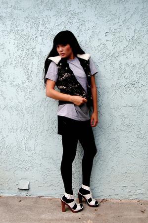 forever 21 vest - American Apparel skirt - Steve Madden shoes