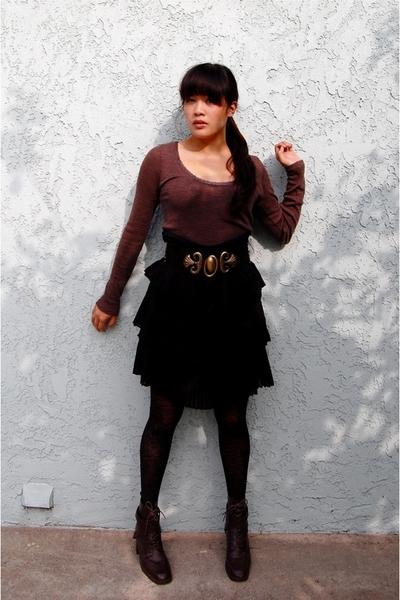 Express sweater - thrifted skirt - Goodwill belt - Ebay shoes