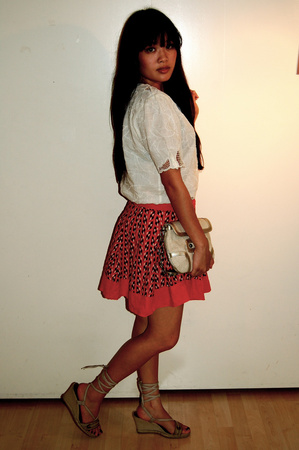 thrift shirt - forever 21 skirt - Target purse - payless shoes