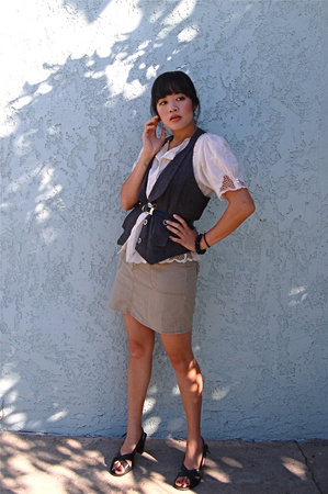 shirt - Macys vest - Bandolino shoes - Old Navy skirt