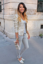Zara jeans - glitter H&M jacket - BLANCO purse - Zara flats - best mountain top