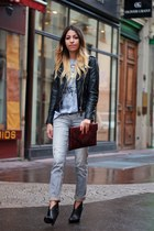 leather La Canadienne jacket - ASH boots - salsa jeans - clutch manoukian bag