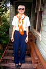 Aquamarine-cotton-vintage-blouse-burnt-orange-scarf