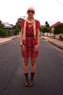 Ruby-red-vintage-remake-dress-black-vintage-boots