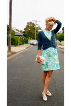 aquamarine floral print vintage dress - white king vintage shoes