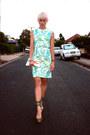 Aquamarine-floral-summer-vintage-dress-white-clutch-vintage-bag