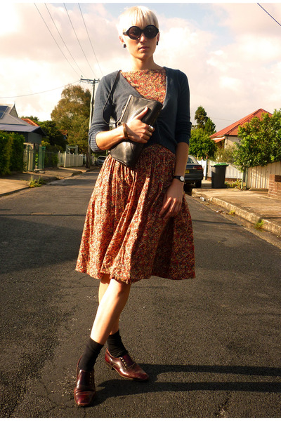 light orange floral dress H&M dress - crimson leather brogues free people shoes