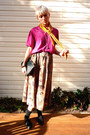 Red-thrifted-vintage-blouse-light-brown-high-waisted-thrifted-vintage-skirt