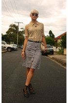 beige lace thrifted vintage blouse - black baby doll vintage shoes