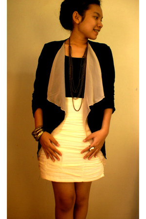 black blazer - gold bracelet - black blouse - cream skirt - cream ring - gold ne