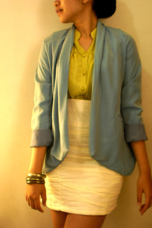 turquoise blue FASHIONWEEK blazer - cream FASHIONWEEK skirt - gold FASHIONWEEK b