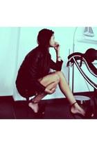 black Valentino heels - black bodycon H&M dress - black leather H&M jacket