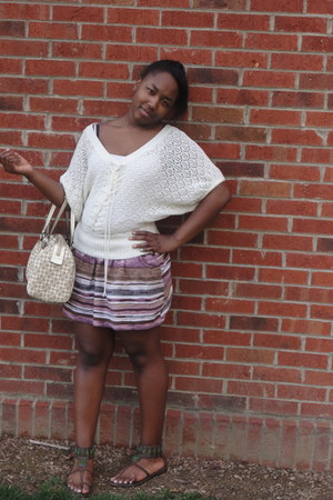 crochet cotton Forever 21 blouse - Charlotte Russe skirt - tribal American Eagle