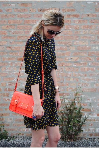 red kate spade bag - navy Tommy Hilfiger shoes - navy Zara dress