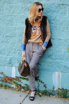 bronze JCrew sweater - dark brown Anthropologie vest