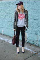 heather gray H&M sweater - dark green Forever 21 coat - crimson JCrew hat