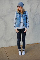 silver Melissa shoes - blue JCrew jacket - heather gray Forever 21 top