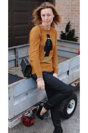 burnt orange JCrew sweater