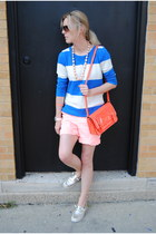 red kate spade bag - peach Gap shorts - blue JCrew sweatshirt
