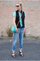 blue united colors of benetton jeans - black Nine West shoes