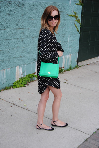 green JCrew bag - black Forever 21 dress