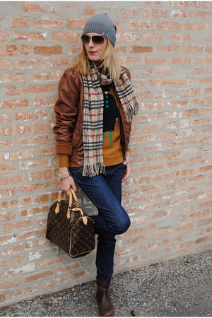 burnt orange H&M jacket - burnt orange JCrew sweater