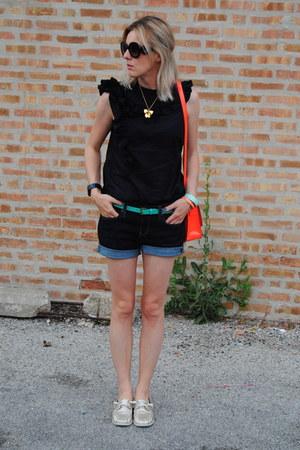 red kate spade bag - navy Gap shorts