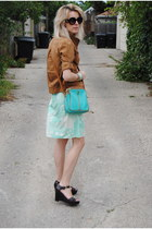 bronze Marshalls jacket - aquamarine River Island dress