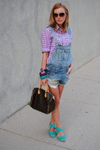 light purple JCrew shirt - blue Zara shorts