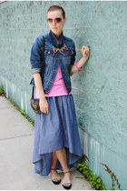 blue TJ Maxx skirt - navy Gap jacket - navy JCrew necklace