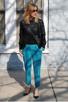 black united colors of benetton jacket - turquoise blue JCrew pants