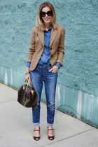burnt orange JCrew blazer - navy united colors of benetton jeans