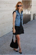 blue JCrew vest - black JCrew dress