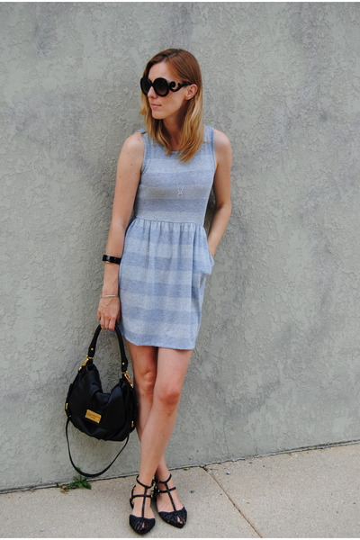 silver Marshalls dress - black Marc by Marc Jacobs bag - black Zara flats