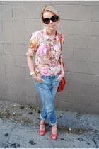 pink JCrew shirt - blue united colors of benetton jeans