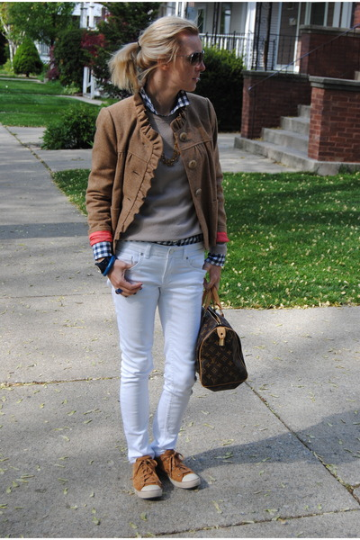 white Marshalls pants - burnt orange JCrew jacket