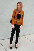 burnt orange JCrew sweater