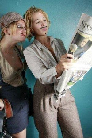 blue UO shorts - beige UO vest - beige UO hat - brown Lux pants - thrifted top -