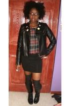 b1267d67e2f8 black leather Kmart boots - black pleather Forever 21 jacket