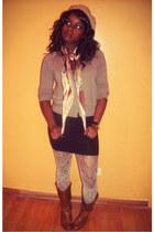 burnt orange Forever 21 boots - Forever 21 scarf - black H&M skirt